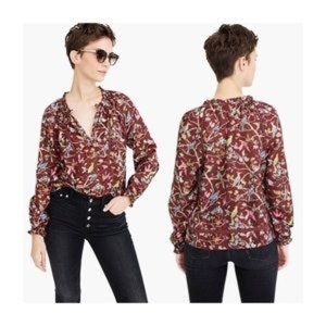 NWT Point Sur Ruffle Neck Printed Blouse